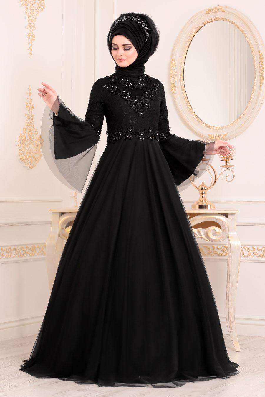 Tesettürlü Abiye Elbise - Volan Kol Dantelli Siyah Tesettürlü Abiye Elbise 20571S