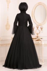 Tesettürlü Abiye Elbise - Volan Kol Dantelli Siyah Tesettürlü Abiye Elbise 20571S - Thumbnail