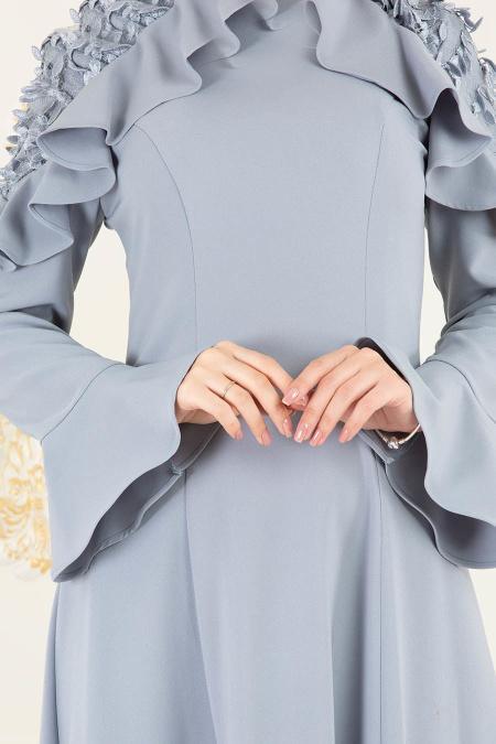 Tesettürlü Abiye Elbise - Volan Kol Koyu Gri Tesettür Abiye Elbise 3633KGR