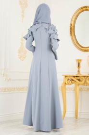 Tesettürlü Abiye Elbise - Volan Kol Koyu Gri Tesettür Abiye Elbise 3633KGR - Thumbnail