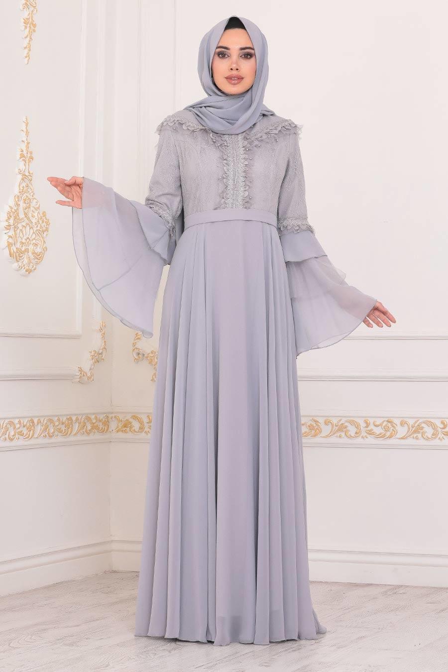 Tesettürlü Abiye Elbise - Volan Kollu Gri Tesettür Abiye Elbise 2248GR
