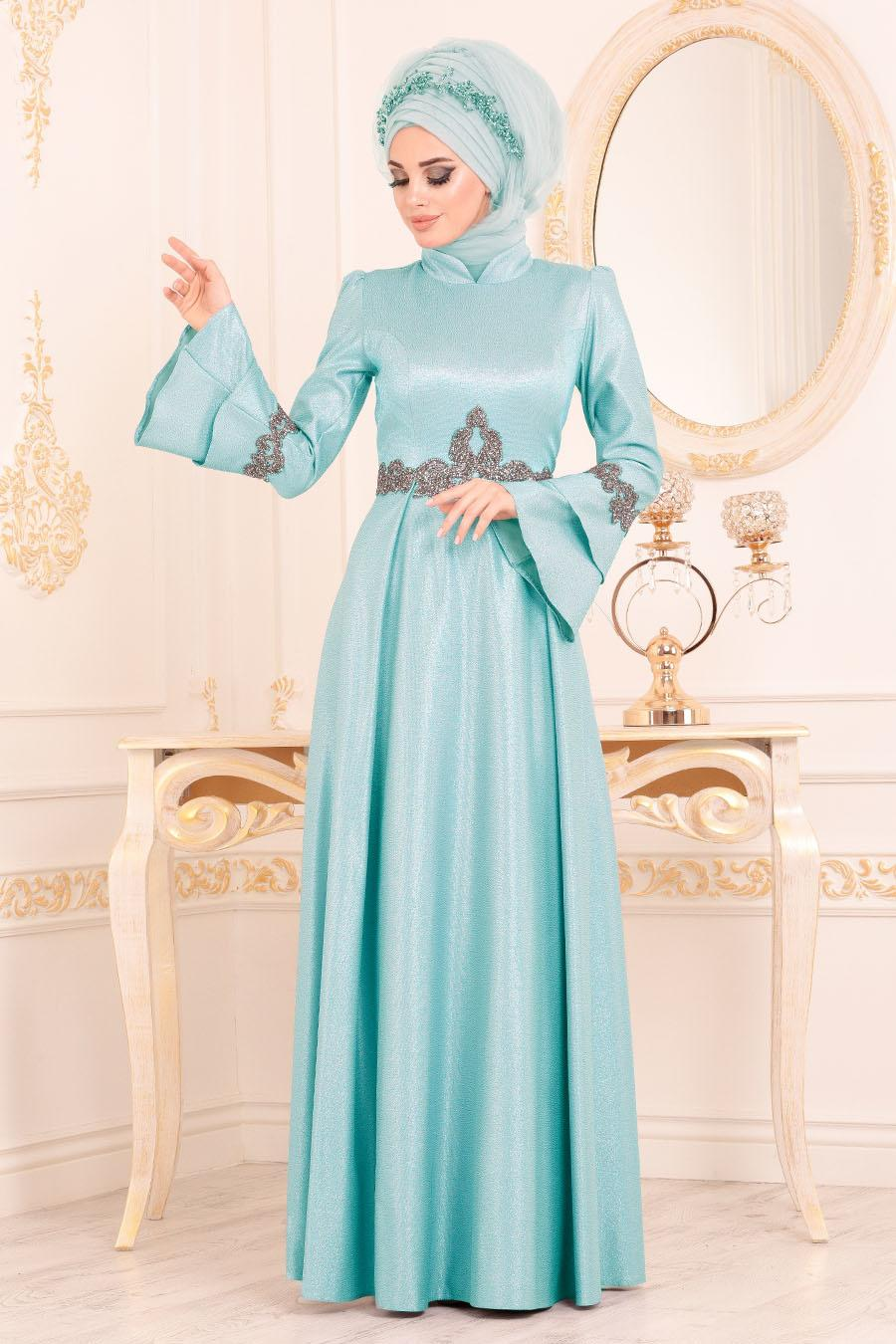 Tesettürlü Abiye Elbise - Volan Kollu Mint Tesettür Abiye Elbise 36970MINT