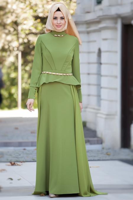 Tesettürlü Abiye Elbise - Yağ Yeşili Abiye Elbise