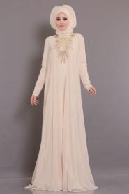 Tesettürlü Abiye Elbise - Yakası Detaylı Ekru Tesettür Abiye Elbise 104E - Thumbnail
