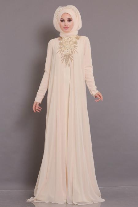 Tesettürlü Abiye Elbise - Yakası Detaylı Ekru Tesettür Abiye Elbise 104E