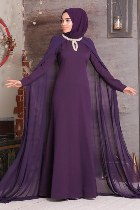 Tesettürlü Abiye Elbise - Yakası Detaylı Mürdüm Tesettür Abiye Elbise 3659MU