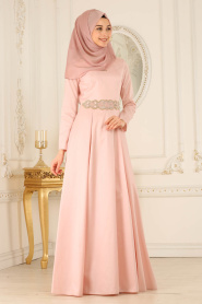 Tesettürlü Abiye Elbise - Yakası Detaylı Somon Tesettür Abiye Elbise 2281SMN - Thumbnail