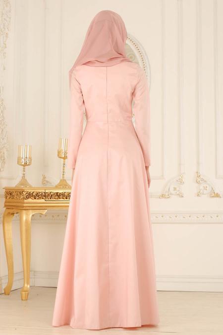 Tesettürlü Abiye Elbise - Yakası Detaylı Somon Tesettür Abiye Elbise 2281SMN