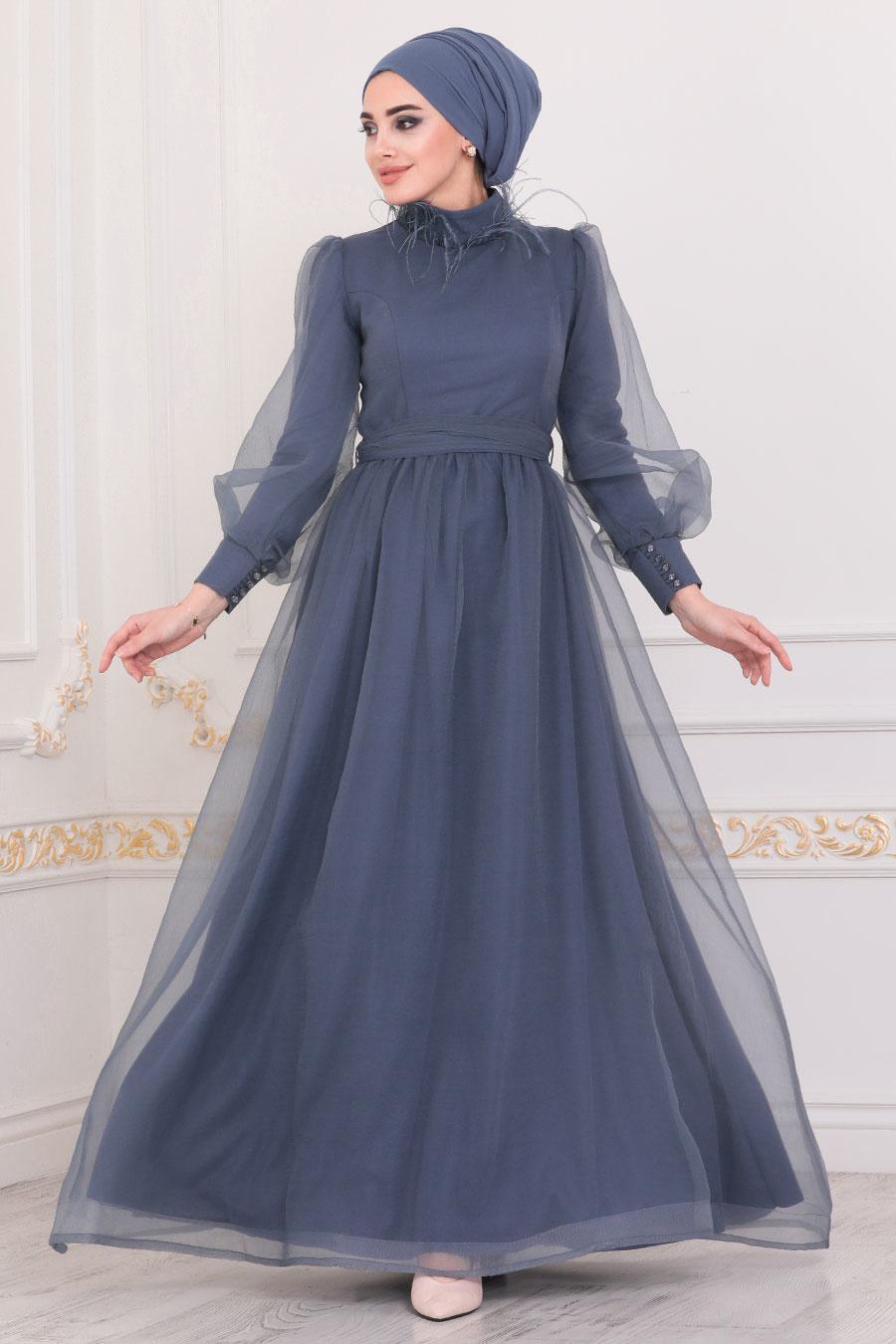 Tesettürlü Abiye Elbise - Yakası Püsküllü İndigo Mavisi Tesettür Abiye Elbise 40701IM