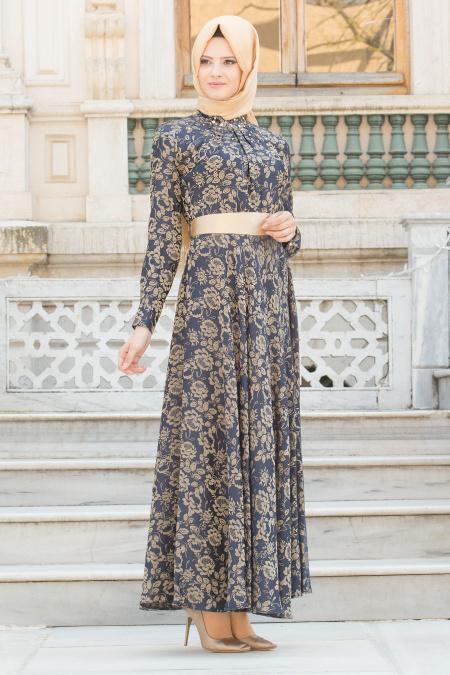 Tesettürlü Abiye Elbise - Yakası Taşlı Desenli Lacivert Tesettür Abiye 7372L