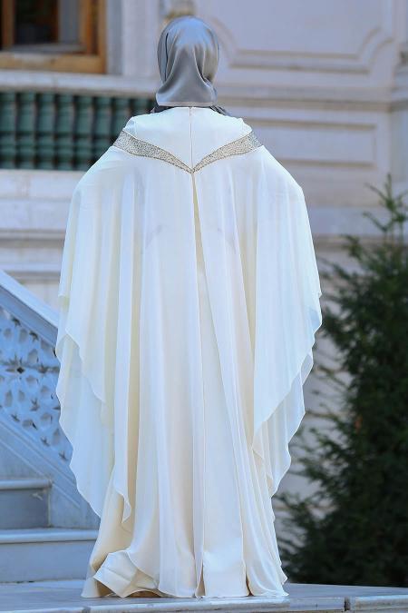 Tesettürlü Abiye Elbise - Yakası Taşlı Ekru Tesettür Abiye Elbise 4479E