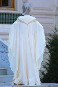 Tesettürlü Abiye Elbise - Yakası Taşlı Ekru Tesettür Abiye Elbise 4479E - Thumbnail