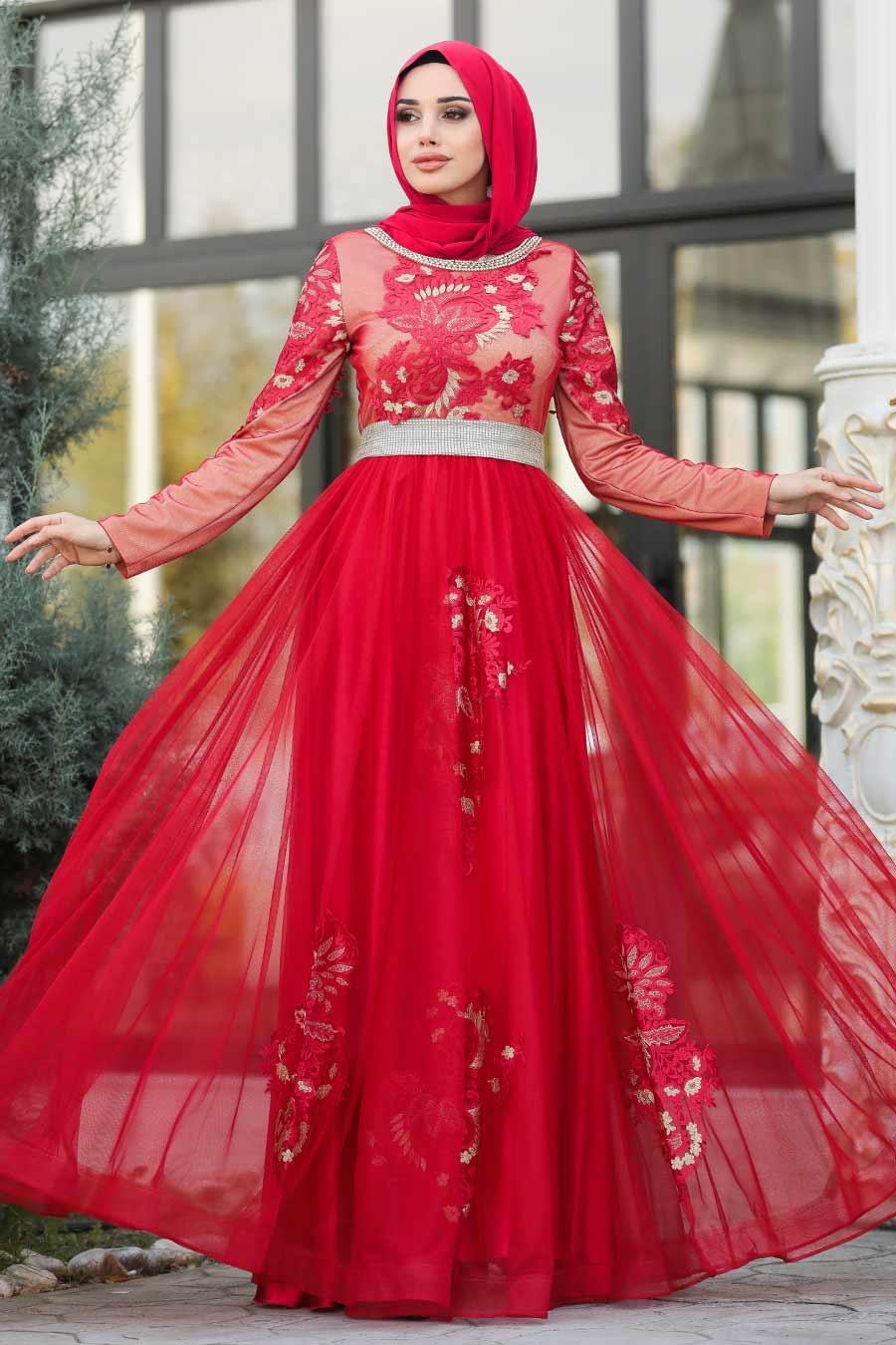 Tesettürlü Abiye Elbise - Yakası Taşlı Kırmızı Tesettür Abiye Elbise 2757K