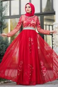 Tesettürlü Abiye Elbise - Yakası Taşlı Kırmızı Tesettür Abiye Elbise 2757K - Thumbnail