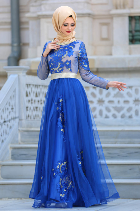 Tesettürlü Abiye Elbise - Yakası Taşlı Mavi Tesettür Abiye Elbise 2757M