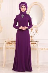 Tesettürlü Abiye Elbise - Yakası Taşlı Mor Tesettür Abiye Elbise 20200MOR - Thumbnail