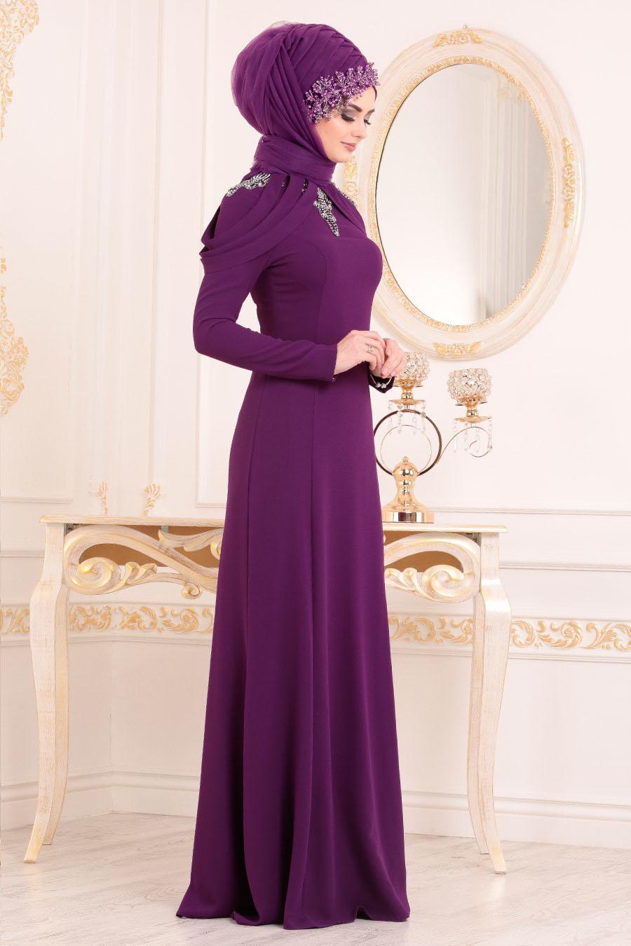 Tesettürlü Abiye Elbise - Yakası Taşlı Mor Tesettür Abiye Elbise 20200MOR