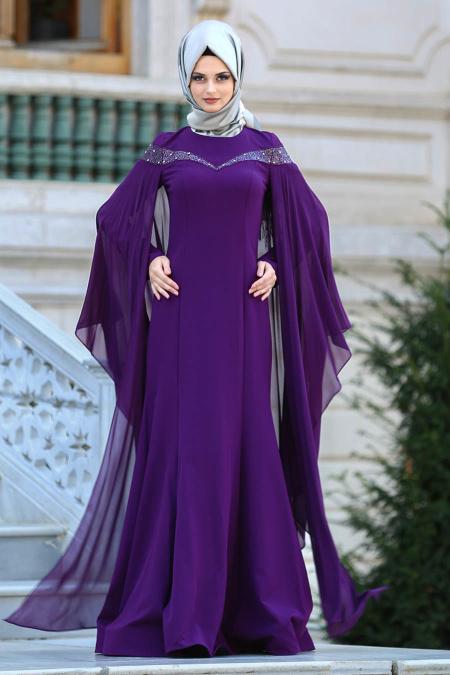 Tesettürlü Abiye Elbise - Yakası Taşlı Mürdüm Tesettür Abiye Elbise 4479MU