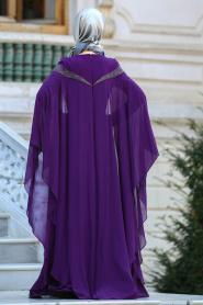 Tesettürlü Abiye Elbise - Yakası Taşlı Mürdüm Tesettür Abiye Elbise 4479MU - Thumbnail