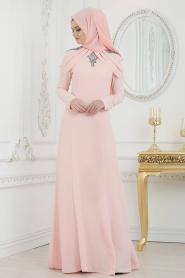 Tesettürlü Abiye Elbise - Yakası Taşlı Somon Tesettür Abiye Elbise 20200SMN - Thumbnail