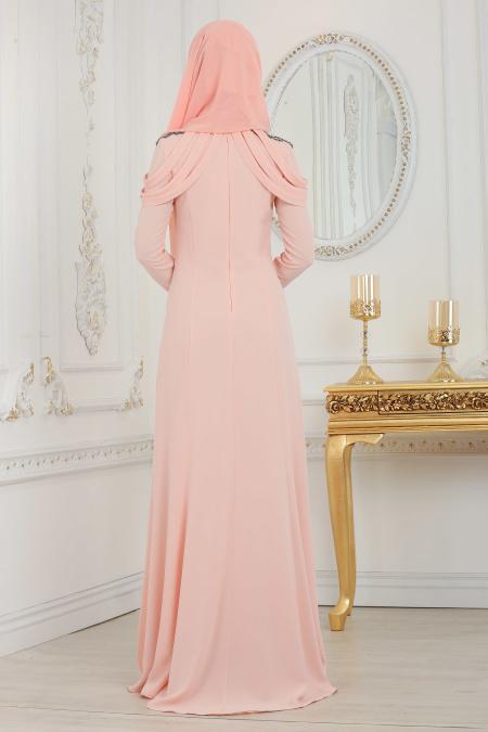 Tesettürlü Abiye Elbise - Yakası Taşlı Somon Tesettür Abiye Elbise 20200SMN