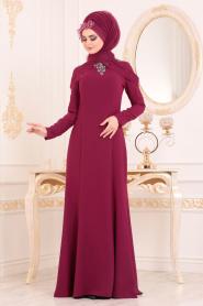 Tesettürlü Abiye Elbise - Yakası Taşlı Vişne Tesettür Abiye Elbise 20200VSN - Thumbnail