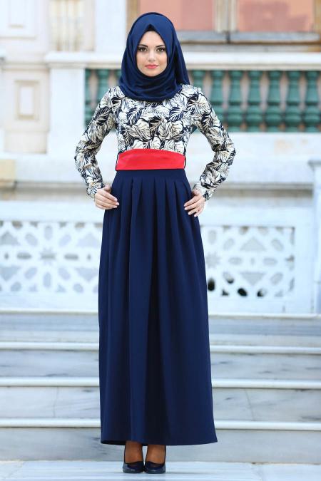 Tesettürlü Abiye Elbise - Yaprak Desenli Lacivert Tesettür Abiye Elbise 20840L