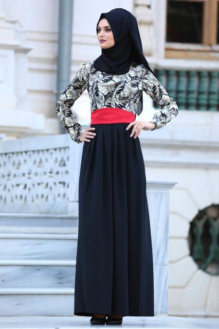 Tesettürlü Abiye Elbise - Yaprak Desenli Siyah Tesettür Abiye Elbise 20840S