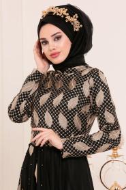 Tesettürlü Abiye Elbise - Yaprak Desenli Siyah Tesettür Abiye Elbise 3122S - Thumbnail
