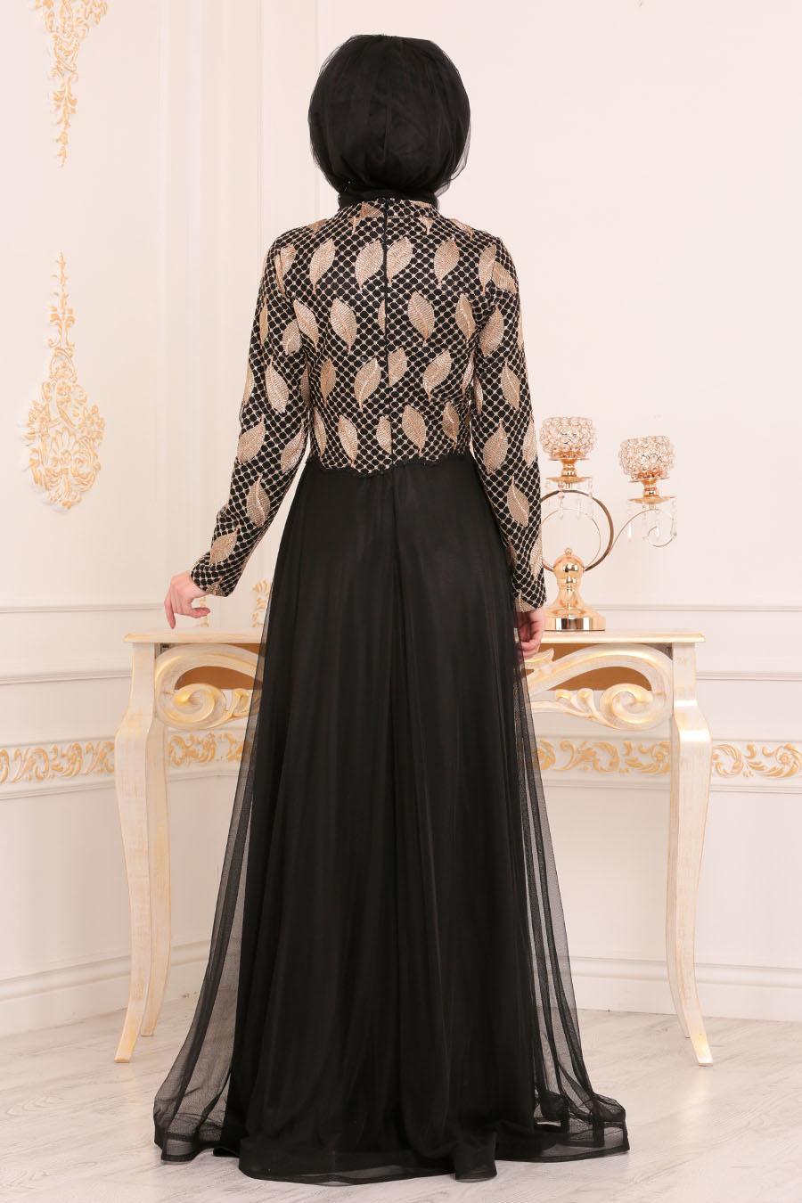 Tesettürlü Abiye Elbise - Yaprak Desenli Siyah Tesettür Abiye Elbise 3122S