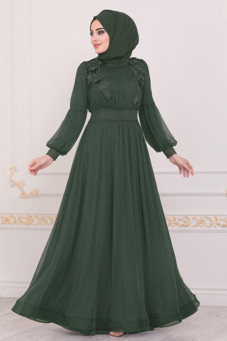 Tesettürlü Abiye Elbise - Yaprak Detaylı Yeşil Tesettür Abiye Elbise 40275Y