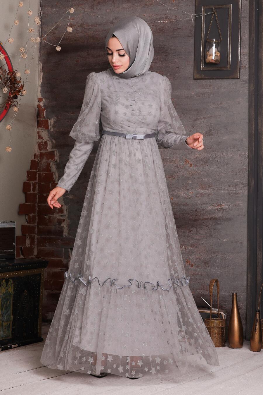 Tesettürlü Abiye Elbise - Yıldız Detaylı Gri Tesettür Abiye Elbise 22840GR