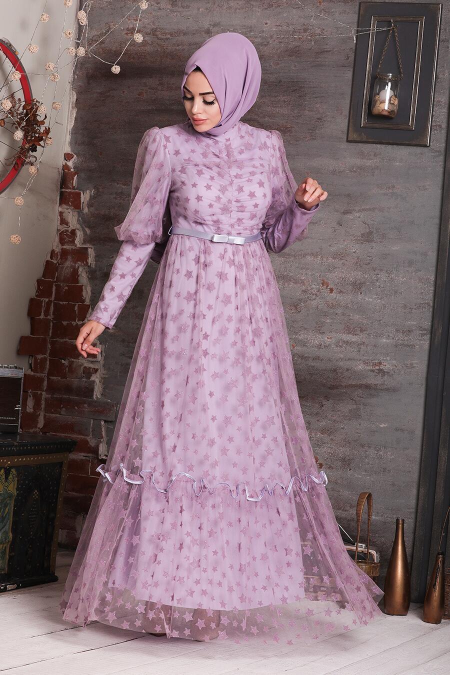Tesettürlü Abiye Elbise - Yıldız Detaylı Lila Tesettür Abiye Elbise 22840LILA