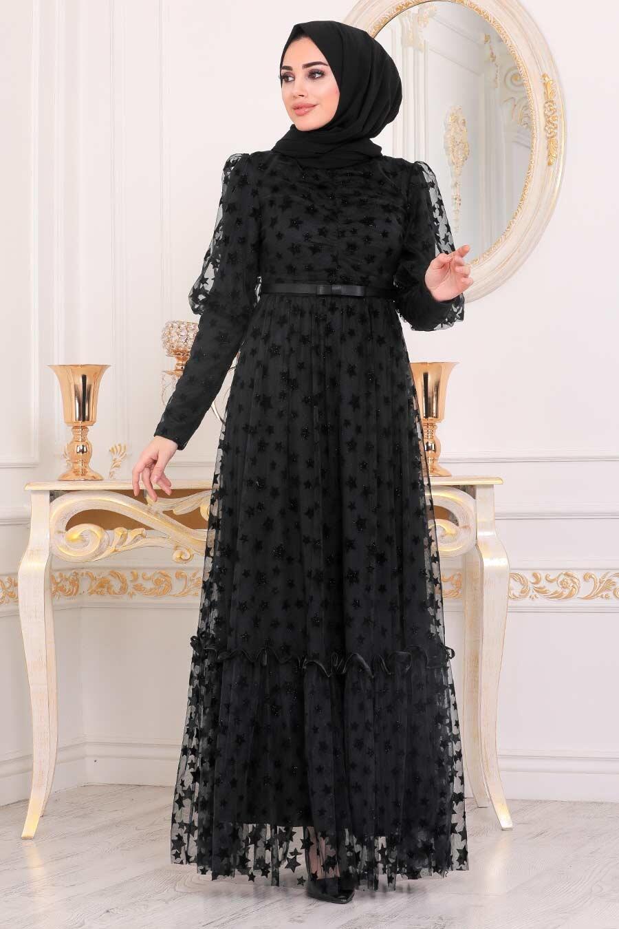 Tesettürlü Abiye Elbise - Yıldız Detaylı Siyah Tesettür Abiye Elbise 22840S
