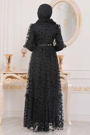 Tesettürlü Abiye Elbise - Yıldız Detaylı Siyah Tesettür Abiye Elbise 22840S - Thumbnail