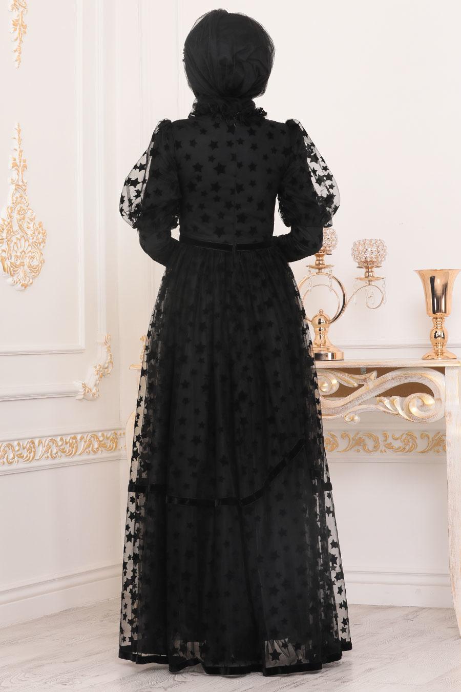 Tesettürlü Abiye Elbise - Yıldız Detaylı Siyah Tesettür Abiye Elbise 40361S