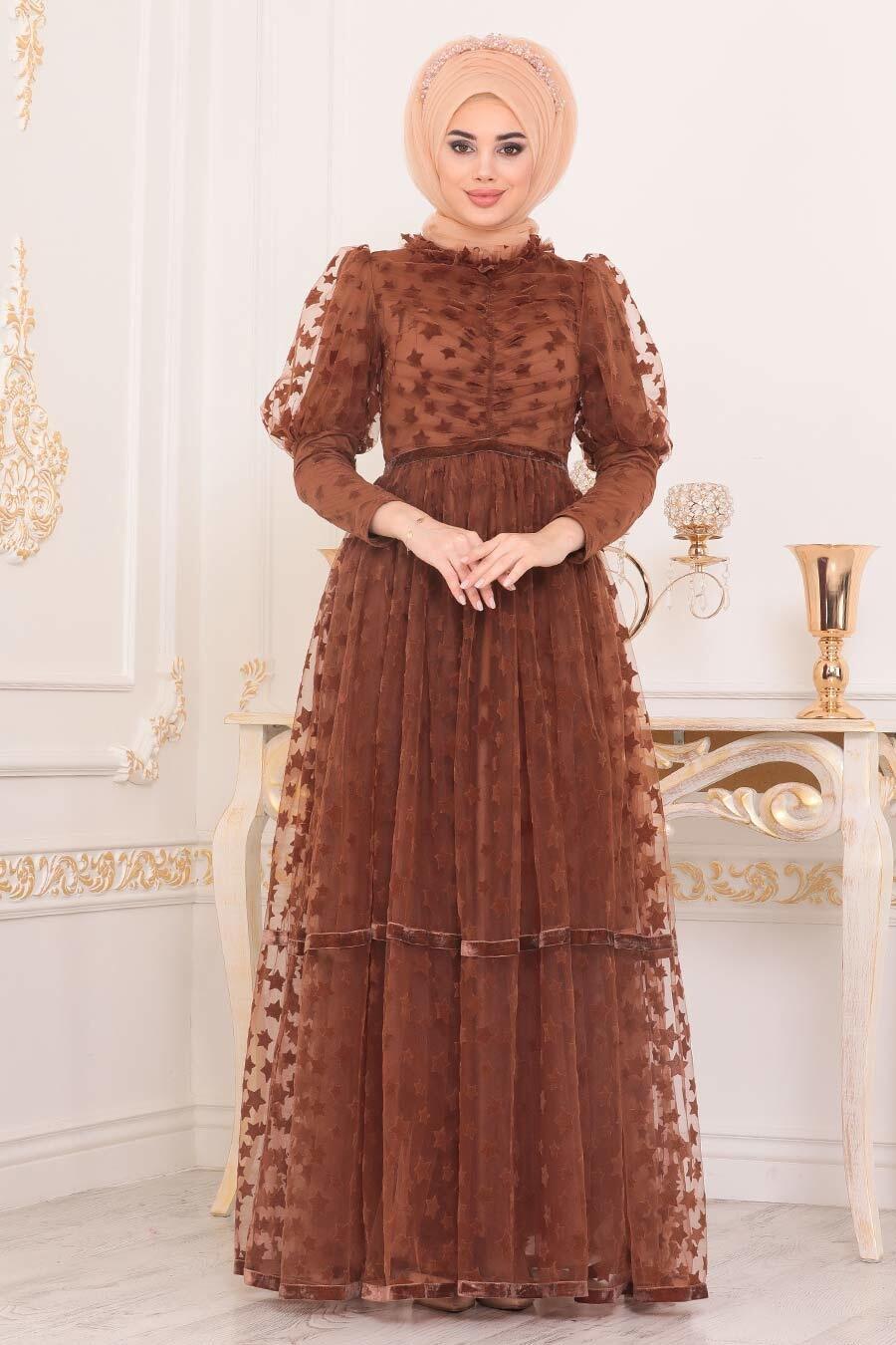 Tesettürlü Abiye Elbise - Yıldız Detaylı Taba Tesettür Abiye Elbise 40361TB
