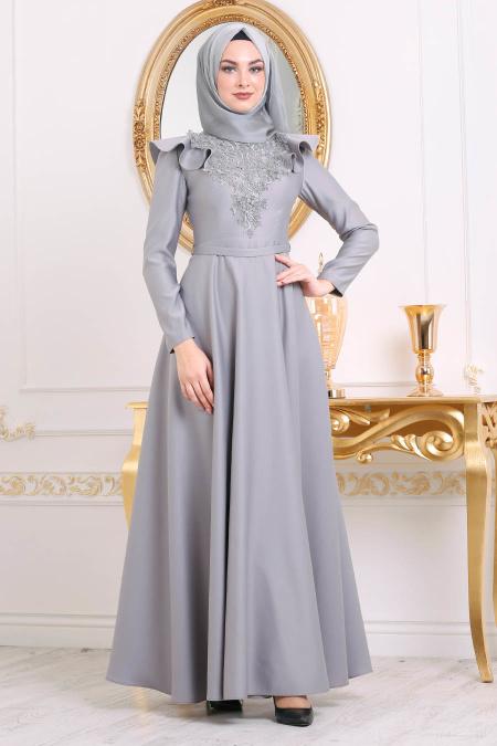 Tesettürlü Abiye Elbiseler - Boncuk Detaylı Gri Tesettür Abiye Elbise 3695GR