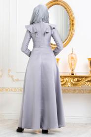 Tesettürlü Abiye Elbiseler - Boncuk Detaylı Gri Tesettür Abiye Elbise 3695GR - Thumbnail