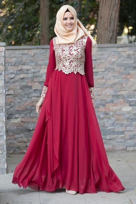Tesettürlü Abiye Elbiseler - Dantel Detaylı Bordo Abiye 2211BR