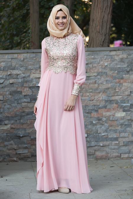 Tesettürlü Abiye Elbiseler - Dantel Detaylı Somon Abiye 2211SMN