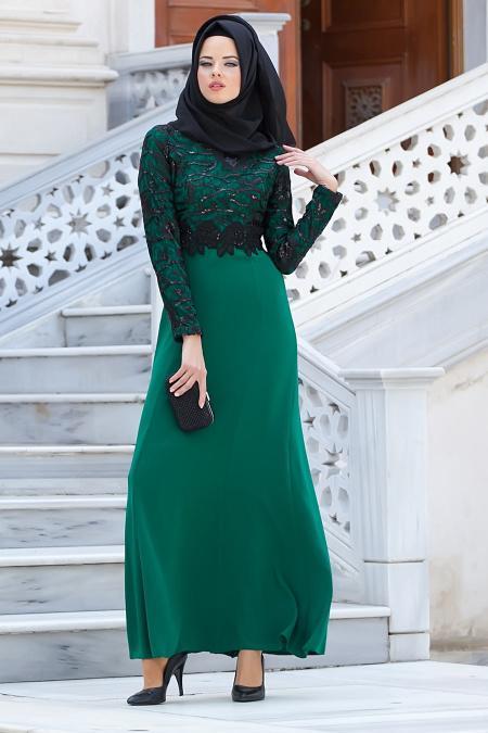 Tesettürlü Abiye Elbiseler - Dantelli Yeşil Abiye