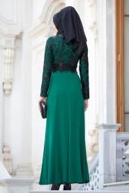 Tesettürlü Abiye Elbiseler - Dantelli Yeşil Abiye - Thumbnail