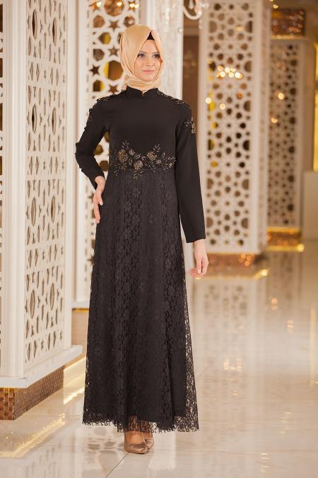Tesettürlü Abiye Elbiseler - Eteği Dantelli Siyah Abiye