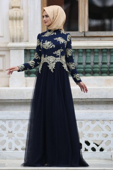 Tesettürlü Abiye Elbiseler - Eteği Tüllü Dantel Detaylı Lacivert Tesettür Abiye Elbise 7763L