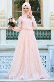 Tesettürlü Abiye Elbiseler - Fiyon Kemerli Dantel Detaylı Somon Tesettür Abiye Elbise 2299SMN - Thumbnail
