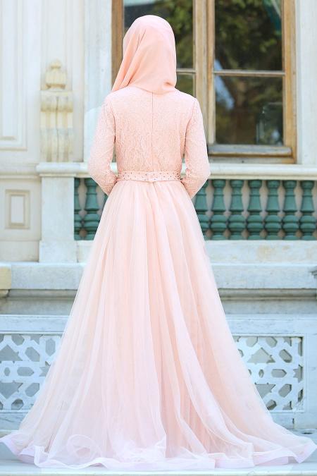 Tesettürlü Abiye Elbiseler - Fiyon Kemerli Dantel Detaylı Somon Tesettür Abiye Elbise 2299SMN