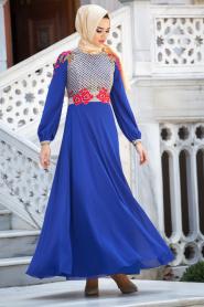 Tesettürlü Abiye Elbiseler - Güllü Dantelli Sax Abiye - Thumbnail