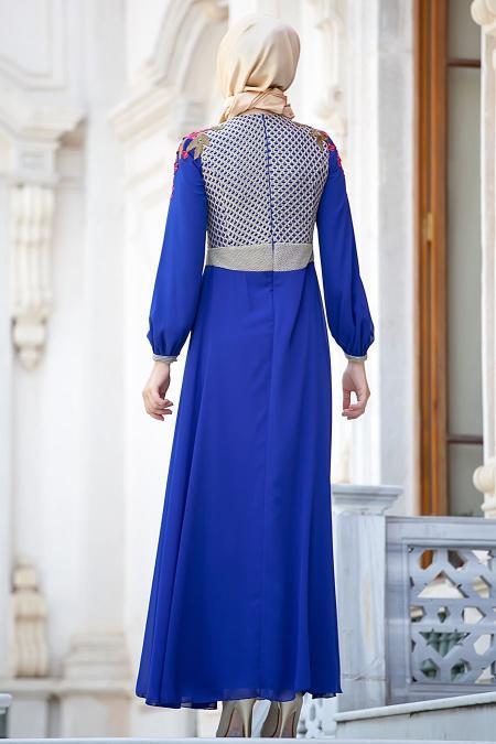 Tesettürlü Abiye Elbiseler - Güllü Dantelli Sax Abiye
