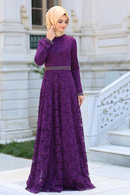 Tesettürlü Abiye Elbiseler - Kemeri Taşlı Dantelli Mor Tesettür Elbise 2288MOR